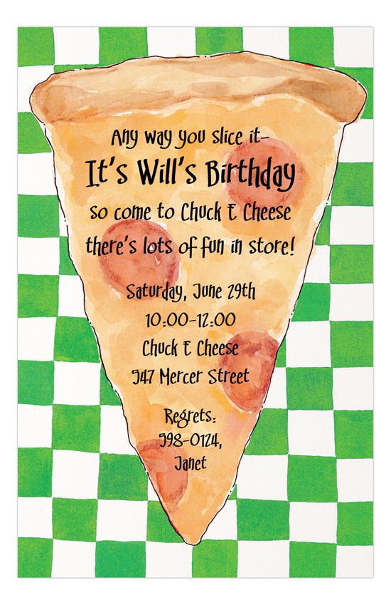 Checkerboard Pizza Party Invitations