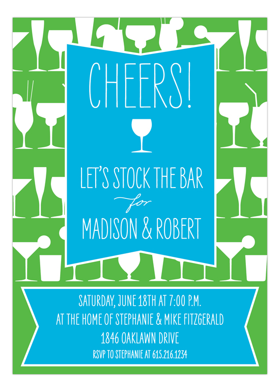 Cheers Turquoise Stock the Bar Cocktails Invitation