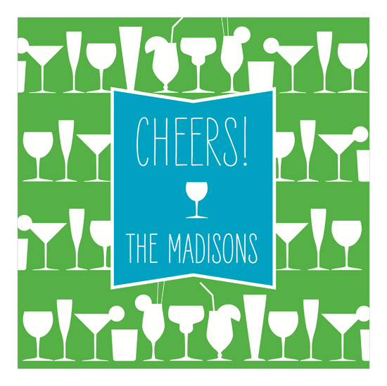 Cheers Turquoise Cocktails Square Lucite Tray Insert