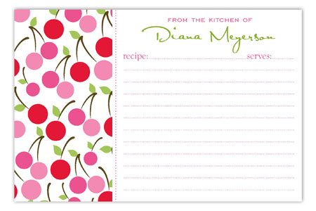 Cheery Cherry Recipe Card