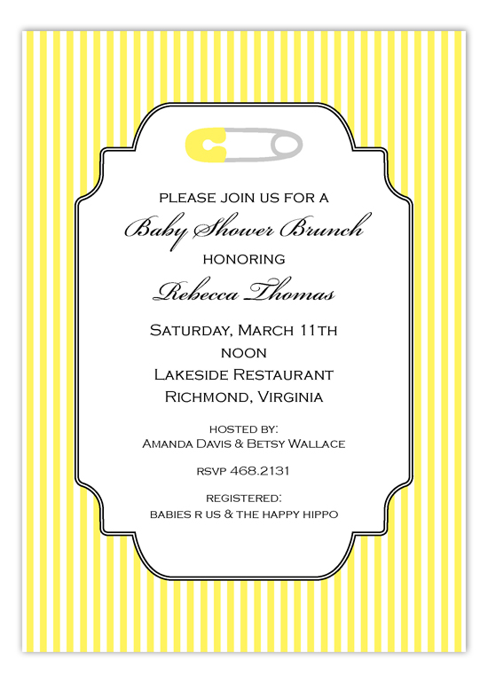 Cheery Yellow Safety Pin Invitation