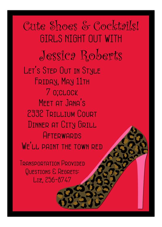Cheetah High Heel Shoe Invitation