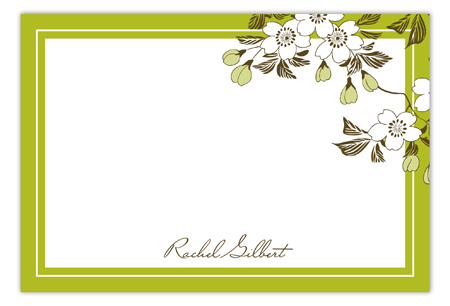 Cherry Vine Green Flat Note Card