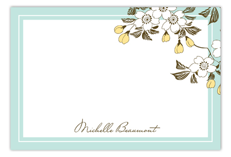 Cherry Vine Turquoise Flat Note Card