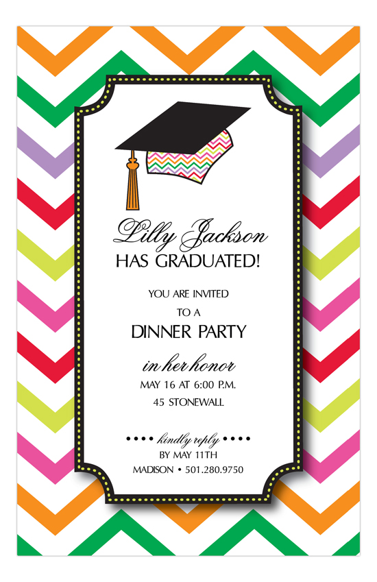 Chevron Grad Cap Invitation