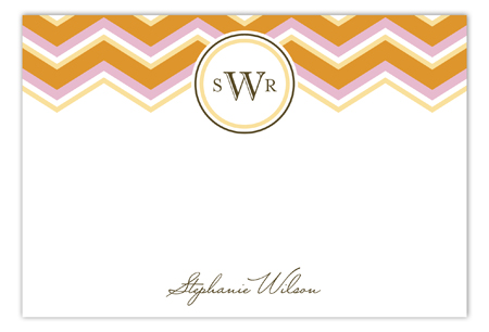 Chevron Monogram Orange Flat Note Card