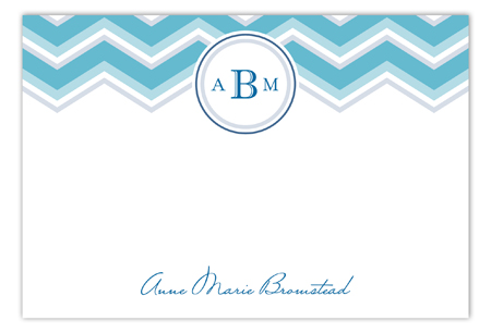 Chevron Monogram Teal Flat Note Card