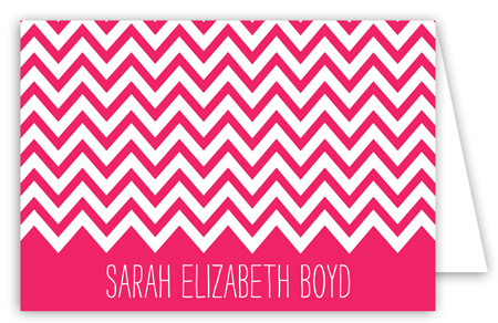 Chevron Pink Folded Note Card