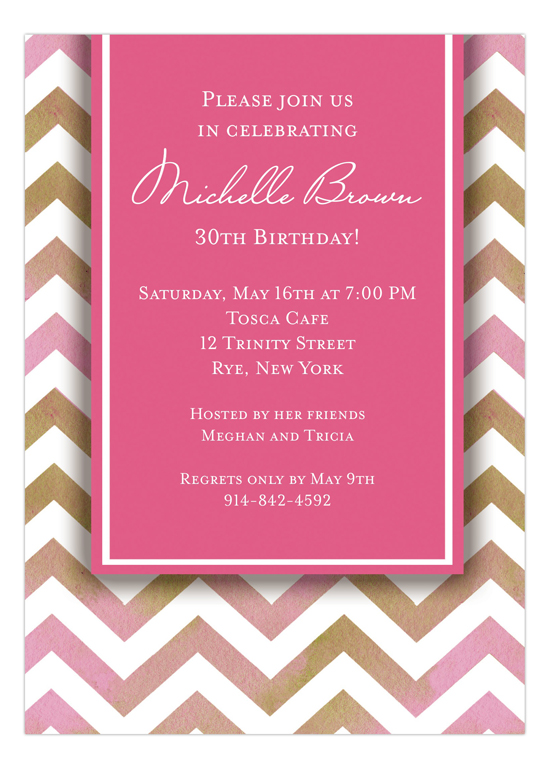 Chevron Pink 30th Birthday