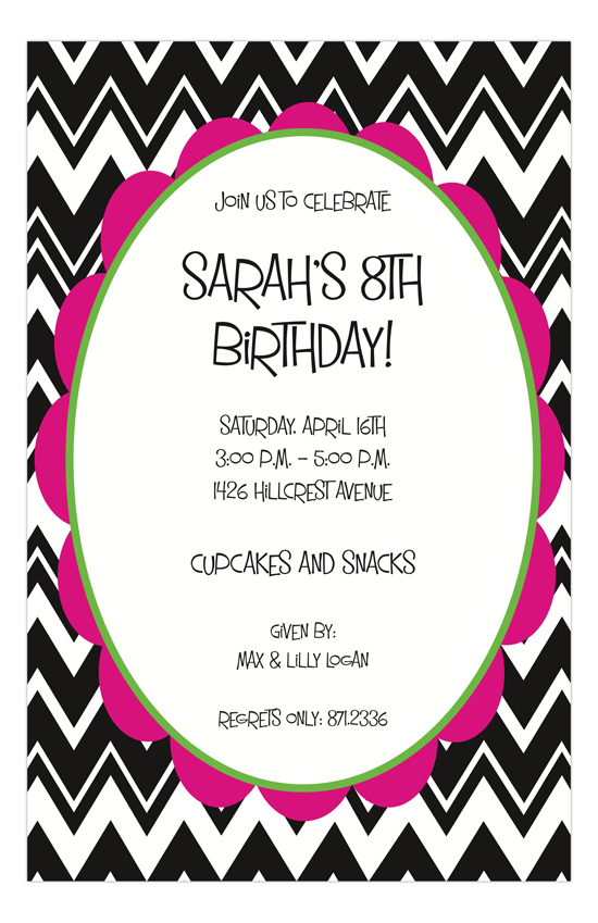 Chevron & Pink Invitation