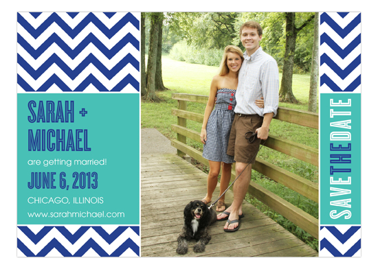 Chic Chevron Blue Photo Card