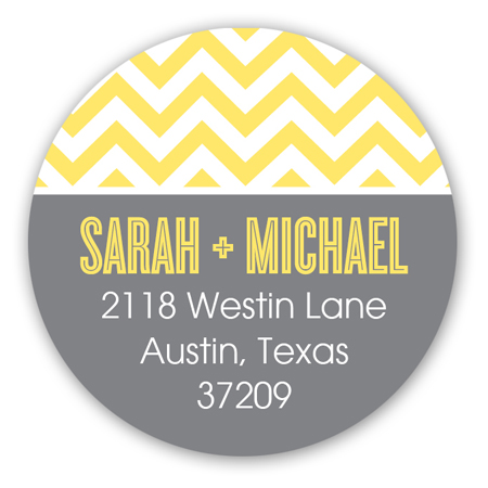 Chic Chevron Yellow Round Sticker