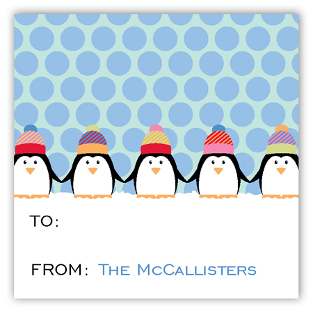 Chilly Penguins Personalized Square Stickers