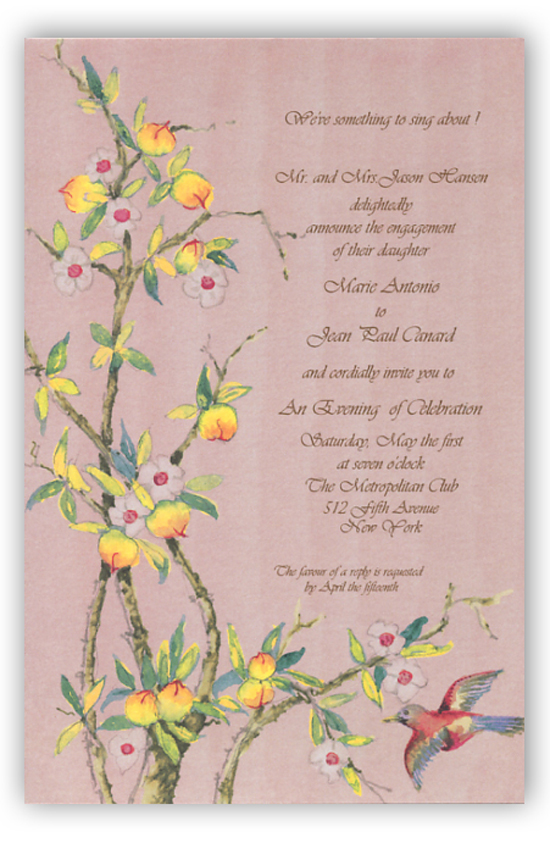 Chinese Peaches Invitation