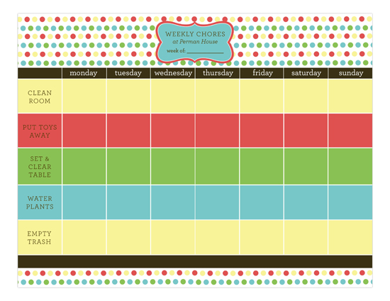Chore List for 2 Calendar Pad