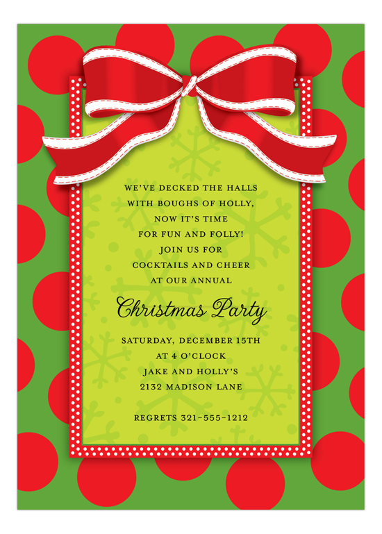 Christmas Bow Corporate Holiday Party Invites