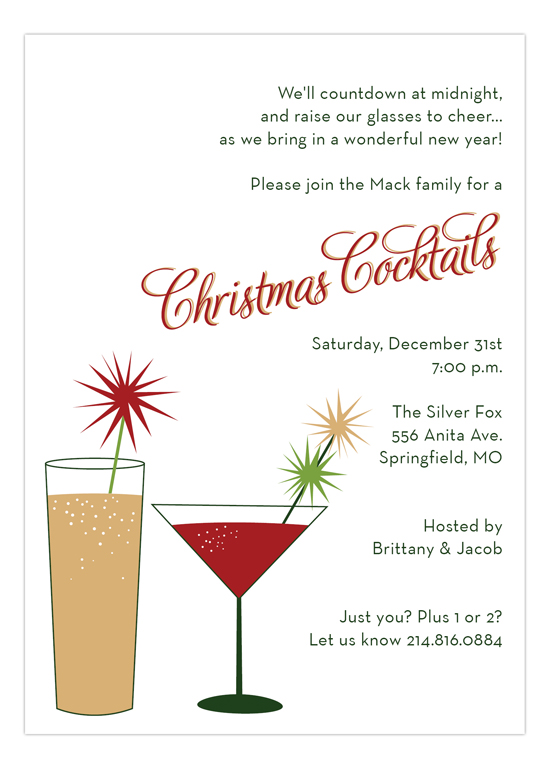 Christmas Cocktails Invitation for the Holidays