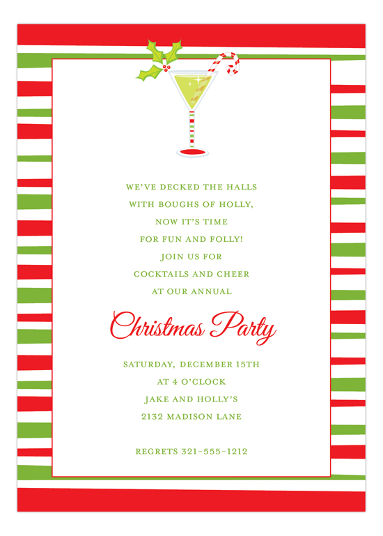 Christmas Cocktails and Cheer Holiday Party Invitations
