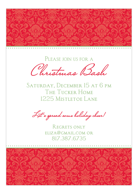 Christmas Damask Invitation