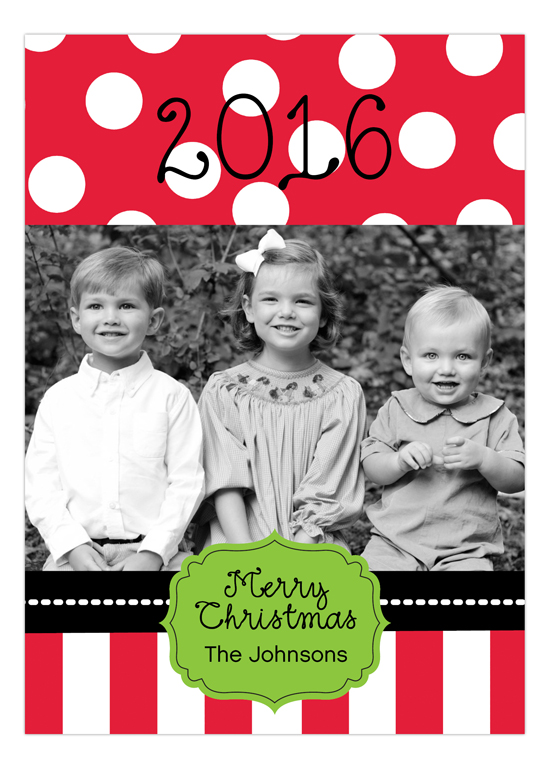 Christmas Dots And Stripes Photo Card