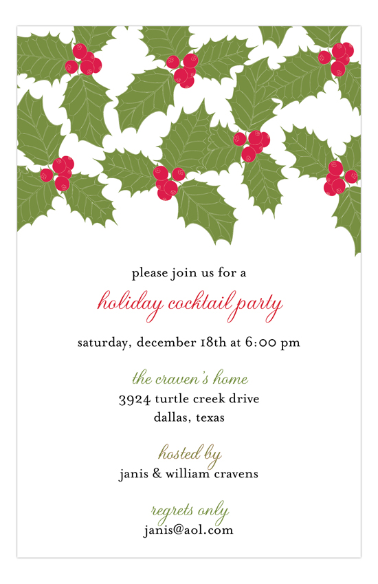 Christmas Holly Berry Leaves Invitation