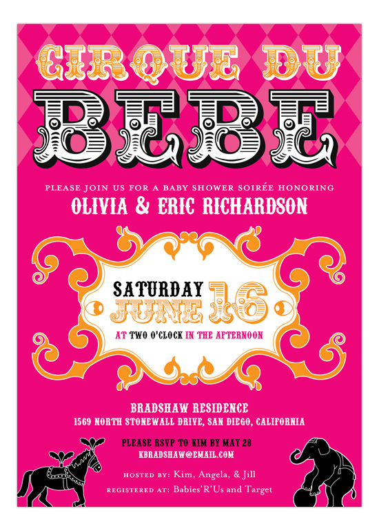 Cirque Du Bebe Girl Invitation