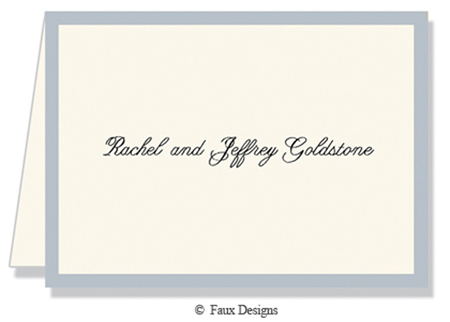Classic Borders Silver on Ivory Folded Note Card