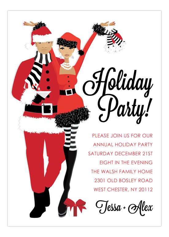 Claus Christmas Couple African American Invitation | Polka Dot Design