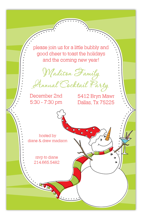 Cocktail Snowman Invitation