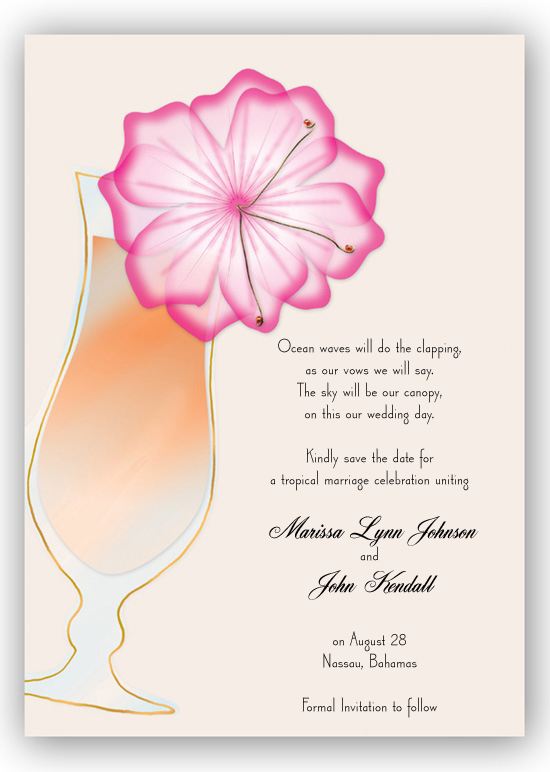 Cocktail with Flower Invitation