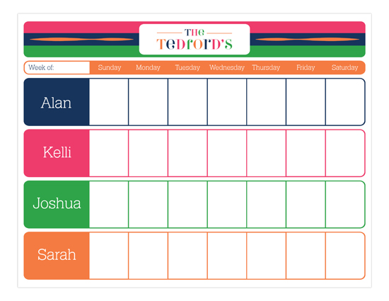 Color Block Weekly Calendar Pad Polka Dot Invitations