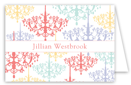 Colorful Chandeliers Folded Note Card