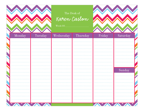 Colorful Chevron Calendar Pad