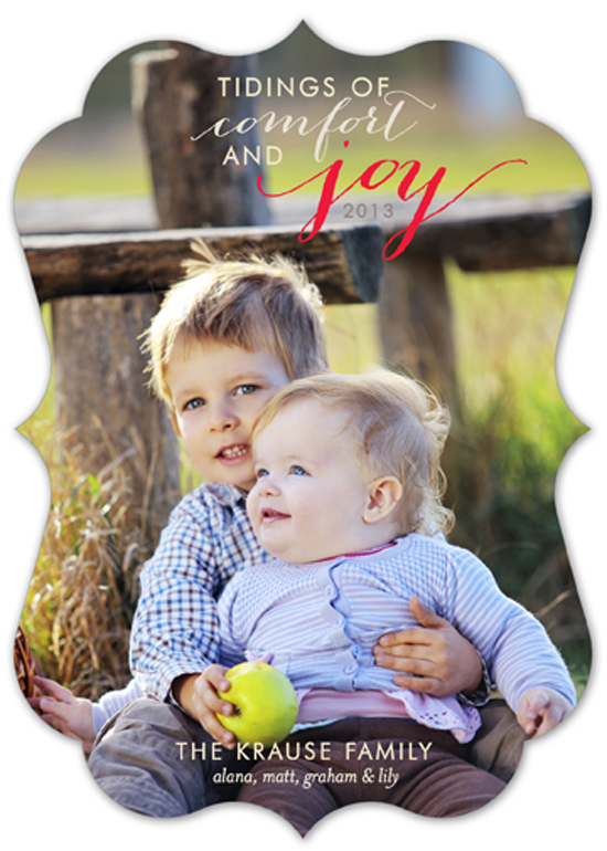 Tidings of Comfort and Joy Die-Cut Bracket Photo Card