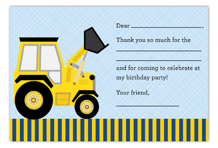 Construction Party Flat Note Card