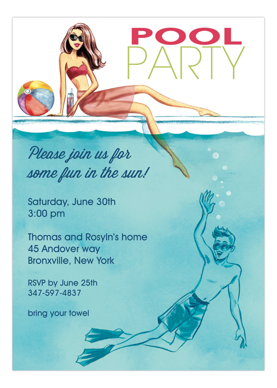 Bonnie Marcus Cool At The Pool Invitation Polka Dot Design