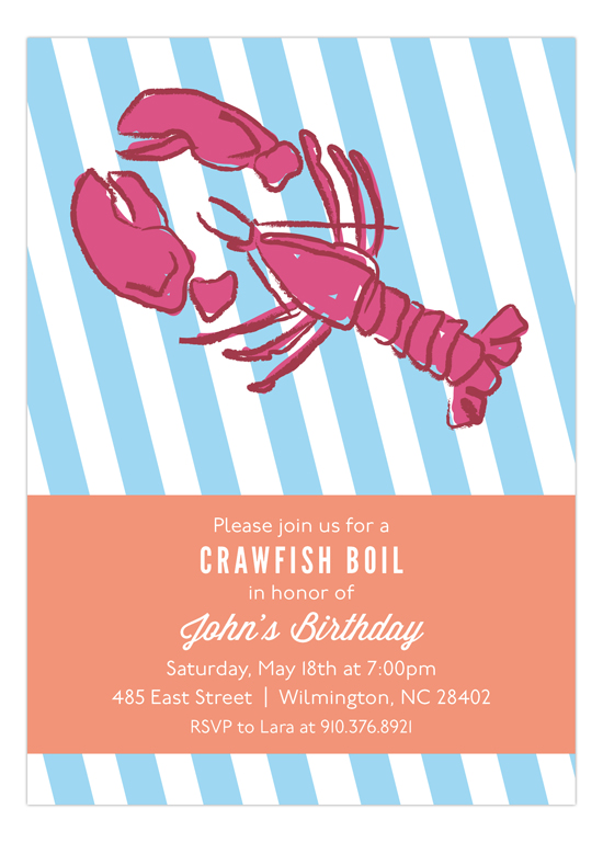 Crawfish Boil Invitation Polka Dot Spring Party Invitations