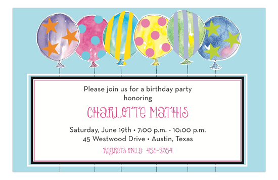Crazy Pastel Colored Balloons Birthday Invitations