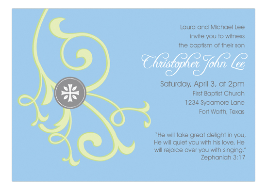 Cross and Vine Blue Invitation