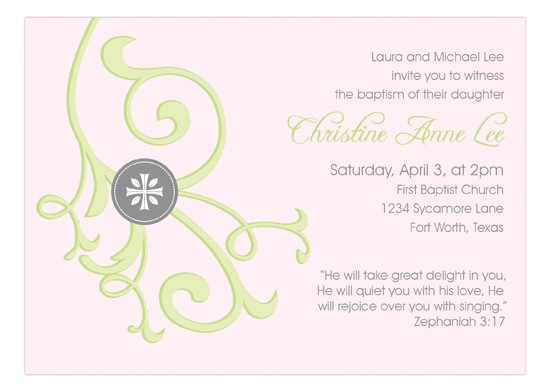 Cross and Vine Pink Invitation