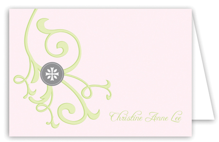 Cross and Vine Pink Note Card
