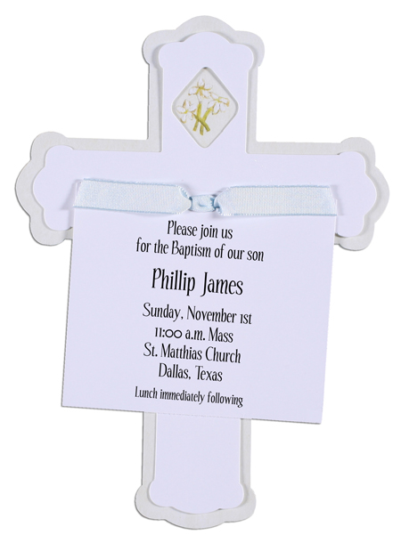 Cross Invitation with Blue Ribbon