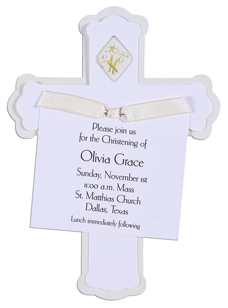 Cross Invitation with Cream Ribbon