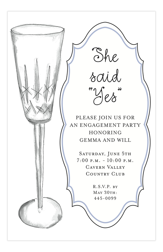 Bubbly Design Co: Crystal Bubbly Engagement Invitations