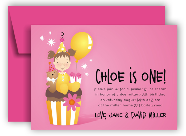 Chloe is One Pink Cupcake Invitations