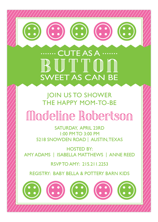 cute as a button pink baby shower invitation baby shower invitations