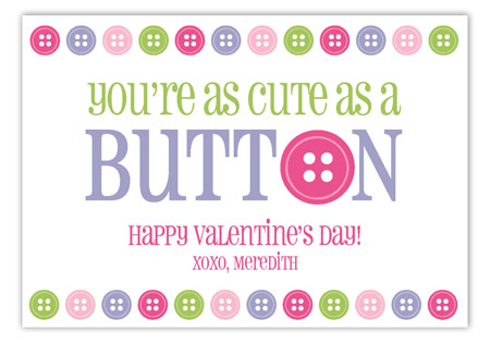 Cute as a Button Valentine Card