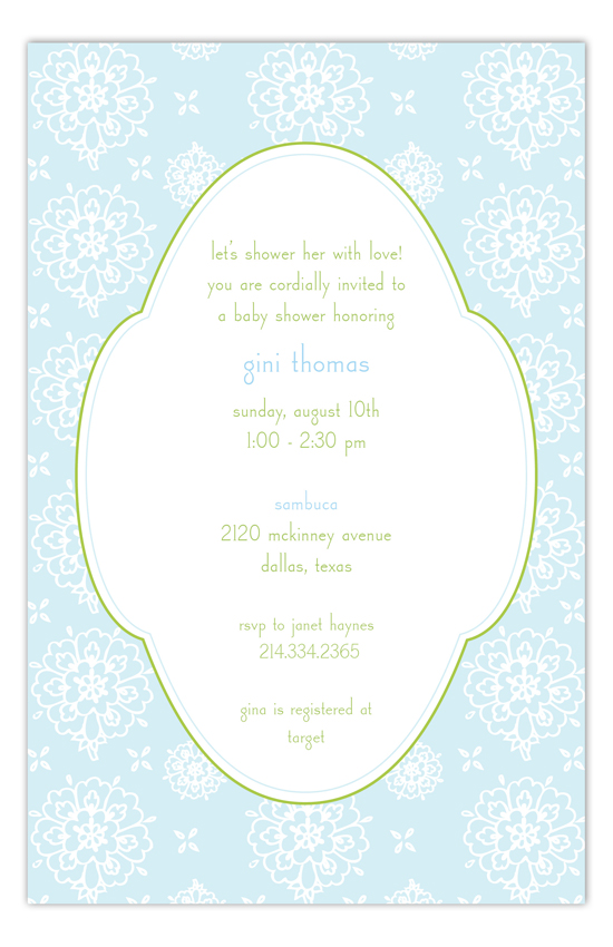 Cute Blue Floral Invitation