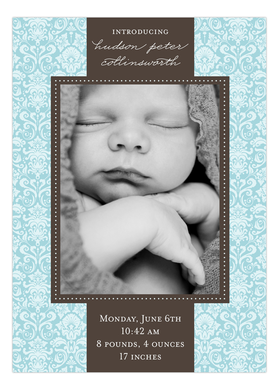 Damask Greeting Boy Photo Card