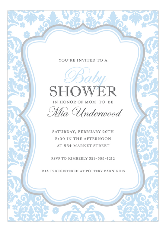 Darling Damask Blue and Grey Invitation